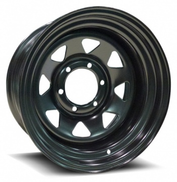 8 SPOKE STEEL – BLACK (15×8″ – 6-139 -24)